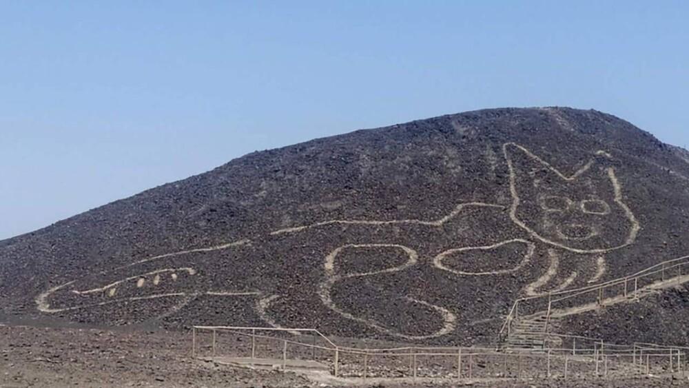Gigantesco gato desenhado no deserto de Nazca tem mais de 2.000 anos